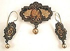Unusual Victorian Demi Parure, Earrings and Brooch