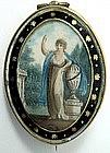Lovely Georgian Mourning Miniature, Hair Reverse