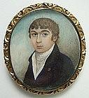 Georgian Portrait Miniature of Gent, Hair Reverse