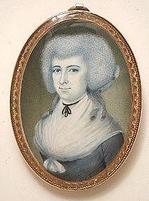 American School Portrait Miniature of Lady, 1785