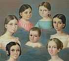 Portrait Miniature Group of 7 Children in Clouds, 1839