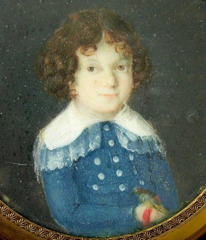 Adorable 19th C Portrait Miniature of Boy with Parrot