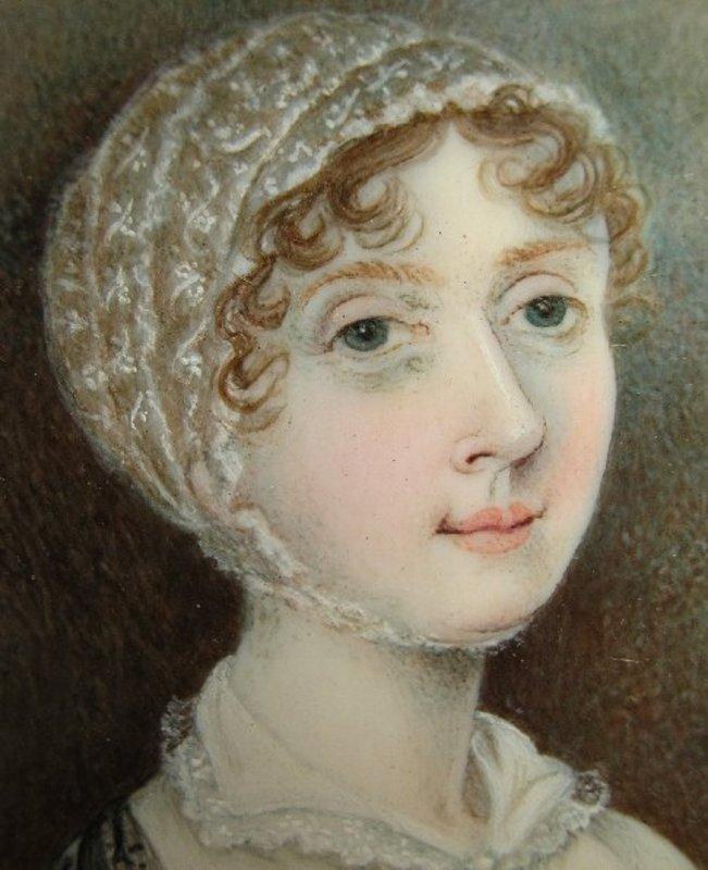 Charming English Portrait Miniature of Lady, 1820