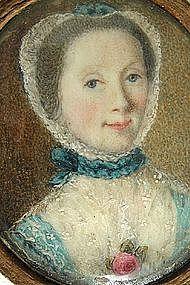 English School Portrait Miniature of Sweet Lady, 1770