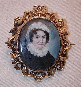 Portrait Miniature Set in 15K Gold Brooch