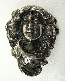Lovely Sterling Art Nouveau Chatelaine Clip, Lady
