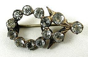 Sweet Early Victorian Paste and Gilt Lace Pin