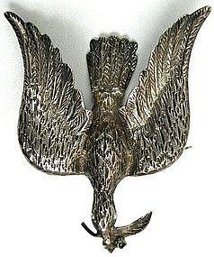 Beautiful Early Victorian Silver Brooch, Bird w/ Branch