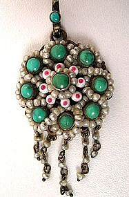 Pretty Austro Hungarian Pendant, Pearls and Turquoises