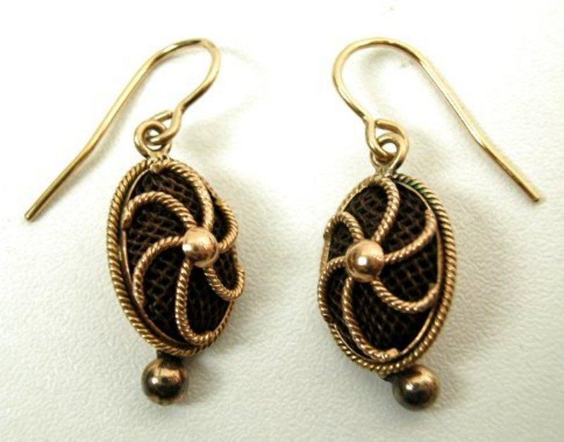 Classic 19th C Gold Hair Work Earrings -- Pinwheels