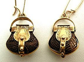 Eye-catching Victorian Gold and Hair Earrings -- Purses
