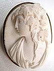 Gorgeous Victorian White Lava Cameo Brooch, Bacchante