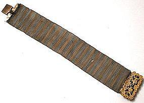 Fabulous 1830�s Mesh Wire Bracelet and Cut Steel Clasp