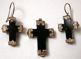 Charming Victorian Onyx Cross Set, Earrings, Pendant