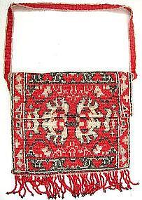 Pretty 19th C Carpet Design Beaded Purse