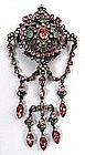 Gorgeous Georgian Corsage Brooch, Emerald, Pink Quartz