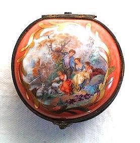 Charming Antique Porcelain Box Pastoral Scene