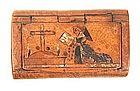 Unusual Burl Snuff Box -- Nun & Cross!