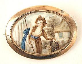 18th C Mourning Miniature Brooch -- Shepherdess