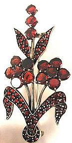 Victorian Bohemian Garnet Floral Spray Brooch