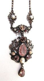 19th C Austro Hungarian Pendant, Pink and Pearls