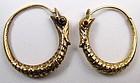 Superb Georgian Snake Hoop Earrings, Garnet Eyes