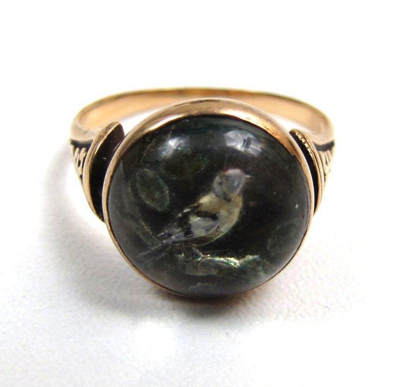 Victorian Essex Crystal Ring, 14K, Bird on a Branch