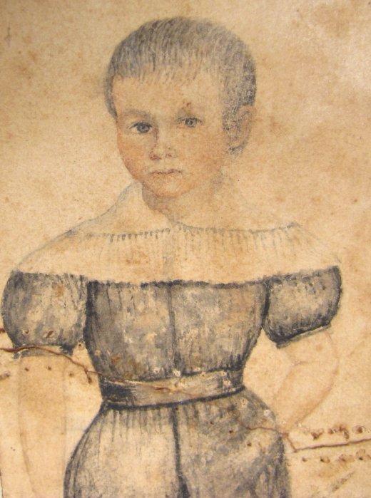 Charming Folk Portrait of Boy, 1840's