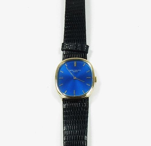 Men's Patek Phillipe Ellipse 18k yellow gold, blue face watch