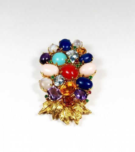 Large, 20k gold, coral, turquoise, moonstone brooch, pendant