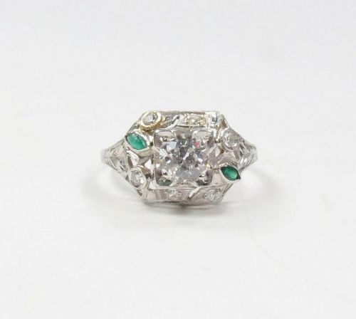 Antique, Deco, platinum diamond emerald engagement ring