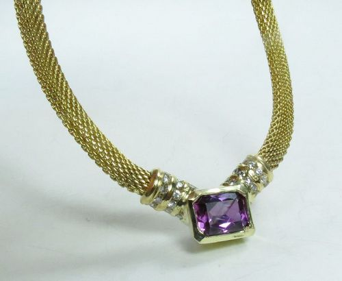 14k yellow gold, amethyst, diamond necklace. Made in Italy.
