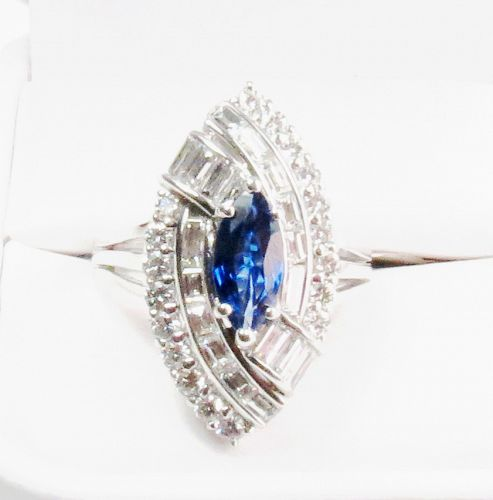 Deco style, 18k gold, natural sapphire diamond engagement ring