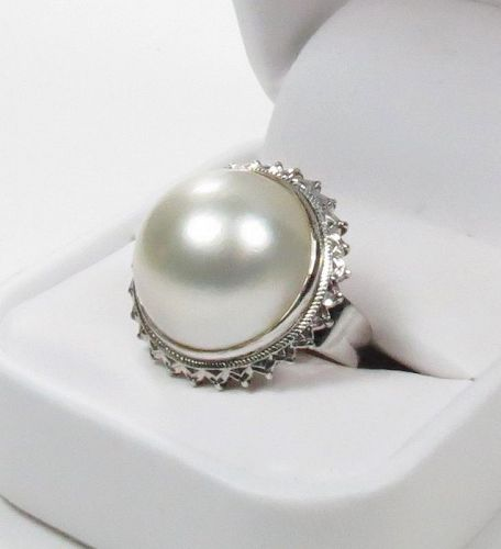 Large, 18k white gold, South Sea Pearl ring
