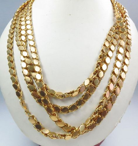 """Heavy, antique, solid 18k yellow gold chain necklace 78"""" long."""