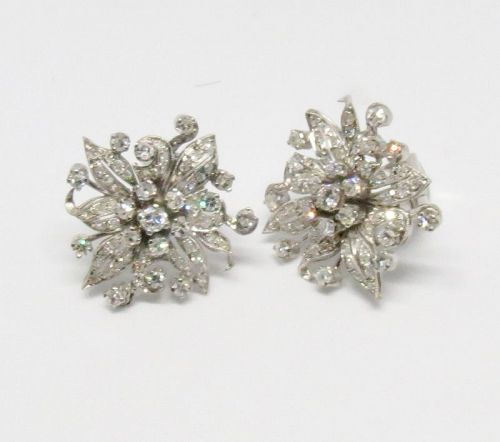 Antique, platinum 2 carats of diamonds flower earrings