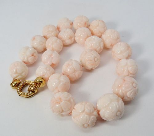 18k gold, diamond, carved Angel Skin Coral bead necklace