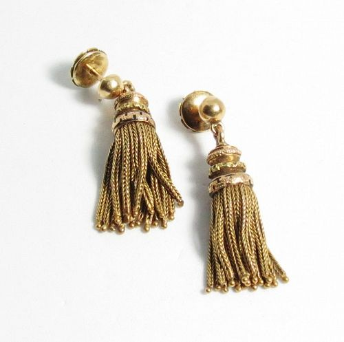 Antique, French, 18k yellow gold, enamel tassel earrings