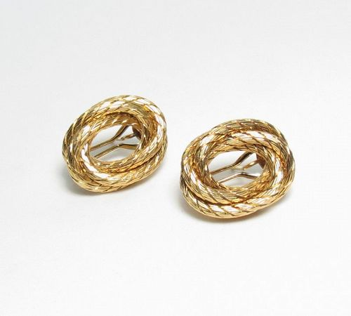 Designer, Carlo Weingrill, Italy, 18k gold twisted rope earrings