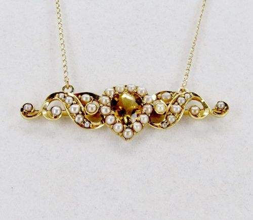 Antique, 14k gold, citrine, natural seed pearl necklace