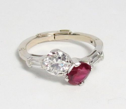 Antique, Toi Et Moi, platinum 14k gold diamond ruby ring