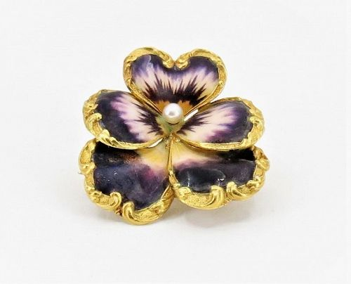 Antique, Art Nouveau, 14k gold, enamel pansy flower brooch, pin