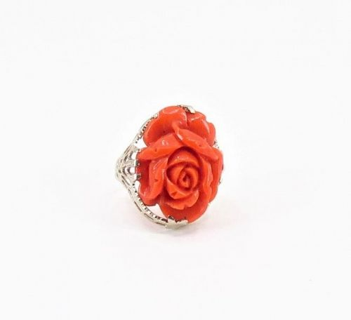 Antique 14k white filigree gold and carved red coral rose ring