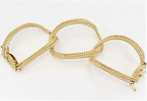 Estate, 14k yellow gold, rope design wide bangle bracelet