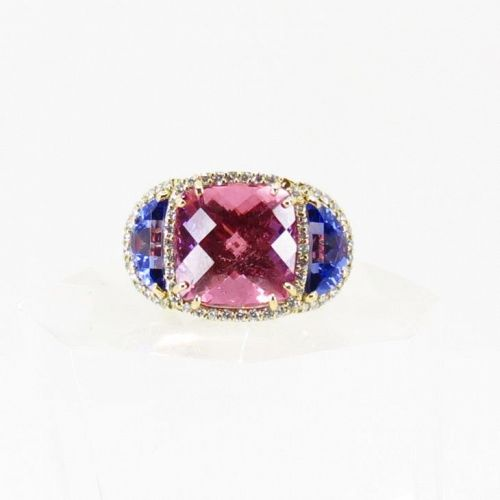 Large, 18k gold, 15.4ctw pink Spinel, Tanzanite ring. AGL certified.