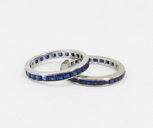 Pair of sapphire eternity bands rings in 14k gold