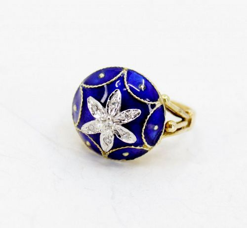 Antique, diamond, blue enamel dome ring in 14k gold