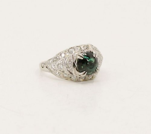 Antique, GIA certified natural Alexandrite diamond ring in platinum