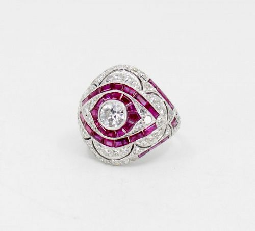 Deco style diamond ruby dome ring in platinum