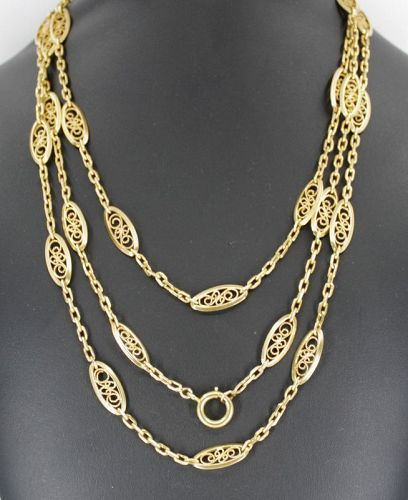 Antique French lorgnette sautoir chain necklace in 18k yellow gold